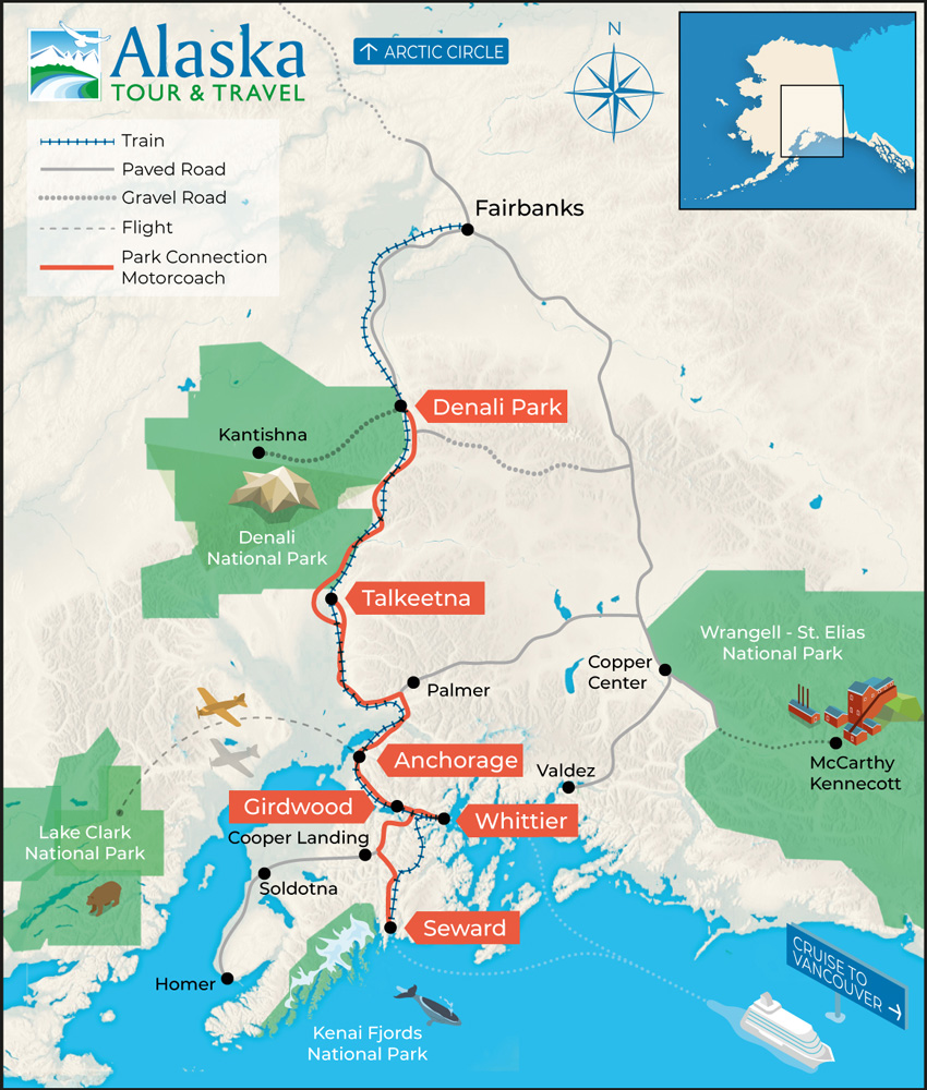Alaska Railroad Map.