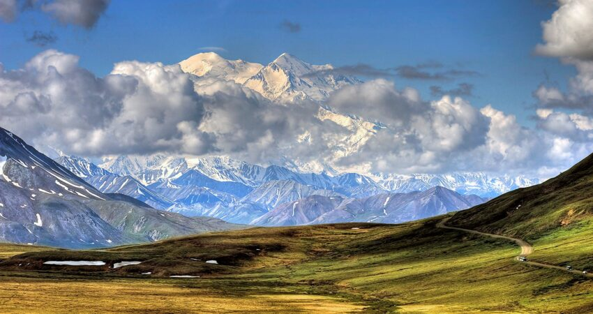 North and south peaks of Denali viewed from Stony Hill.