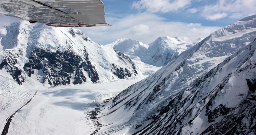 Snowy peaks seen from a flightseeing trip.