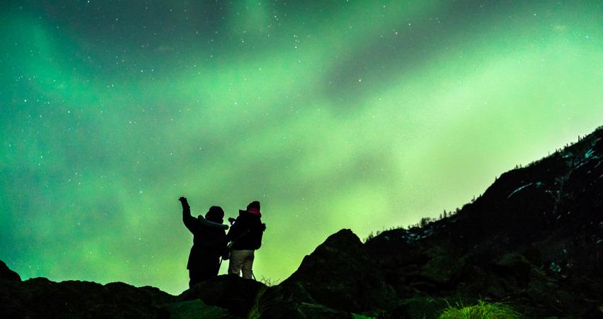 Enjoying the northern lights in Anchorage Alaska.