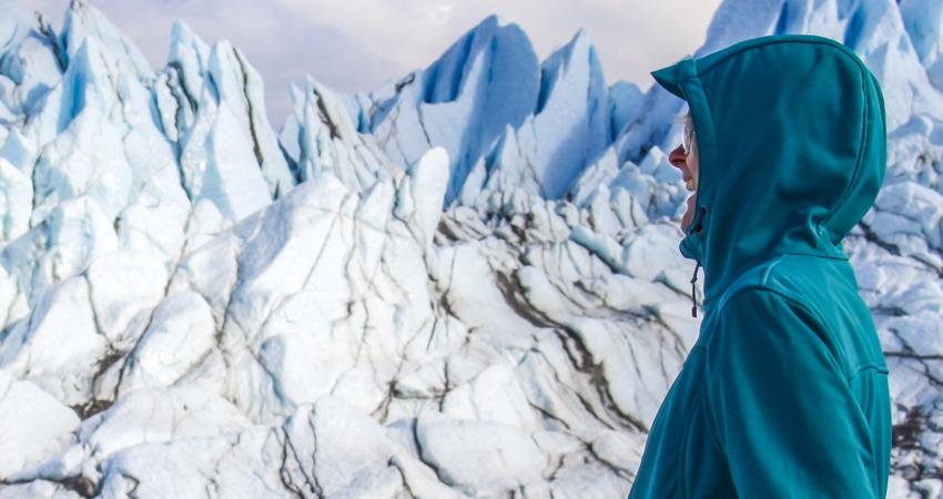 Woman enjoying glacier trekking.