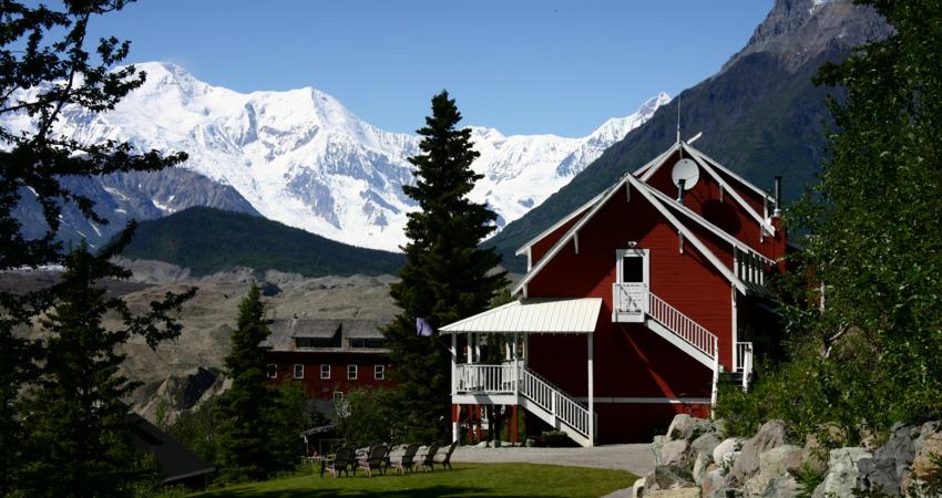 Kennicott Glacier Lodge sits among picturesque mountains.