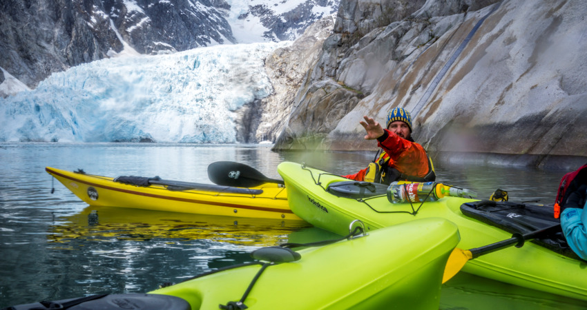 Kayak near Northwestern glacier with an experienced guide.