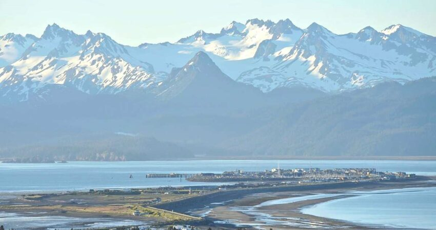 Homer Spit with mountains in the background.