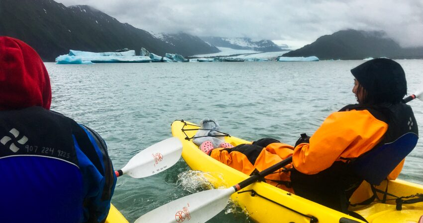 Paddling to icebergs in Bear Glacier Lagoon.
