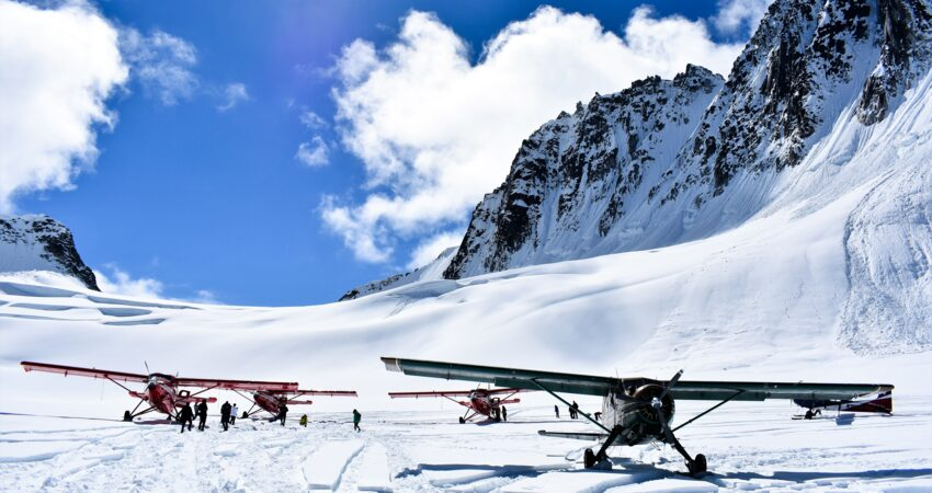 Ski planes on a glacier below Denali.