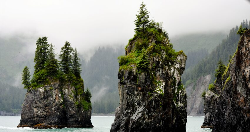 Sea stacks in Resurrection Bay.