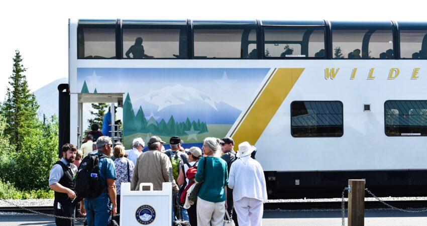 Wilderness Express passengers boarding in Denali Park.