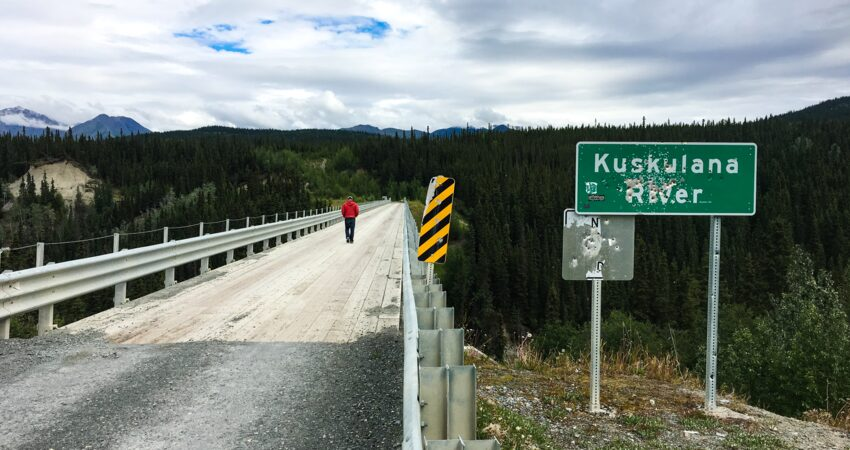 Crossing the Kuskalana River Bridge to McCarthy.