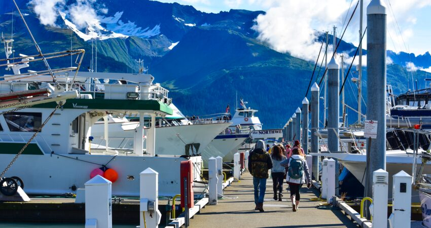 Day cruise ships in Seward's Small Boat Harbor.