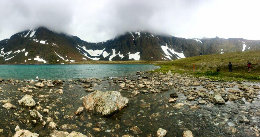 Cloud-capped peaks bordering Rabbit Lake.