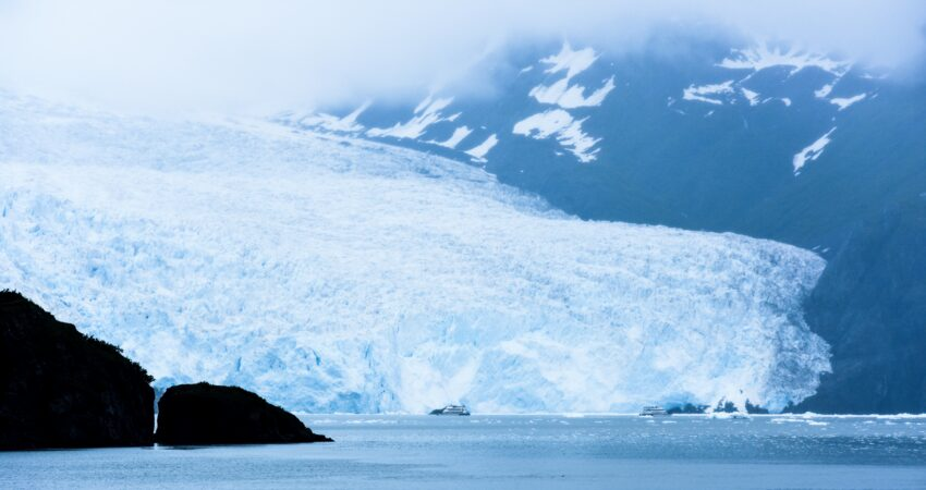 Aialik Bay appearing through the mist in Kenai Fjords National Park.
