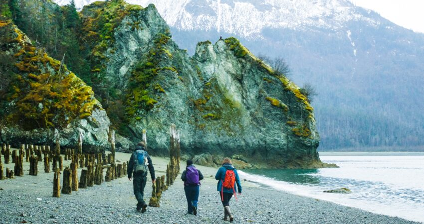 Starting the hike to Grewingk Glacier across the bay from Homer.