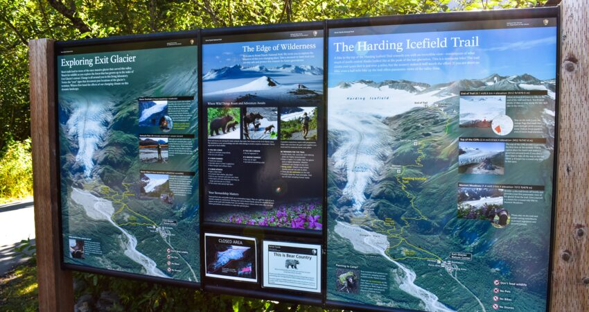 Interperative sign at the Exit Glacier Nature Center.