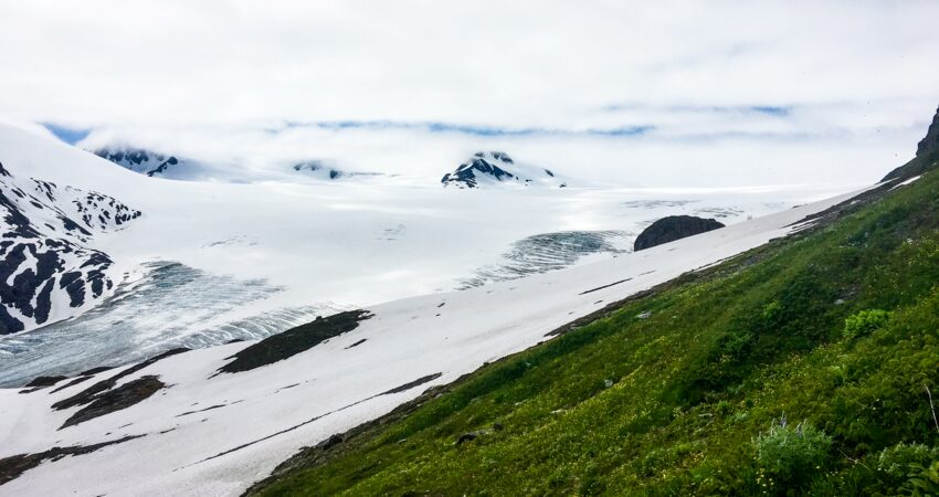 View of the Harding Icefield in Kenai Fjords National Park.