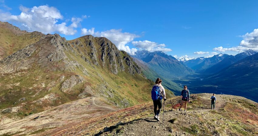 A sunny day for hikers on the Alpine Classic Trek.