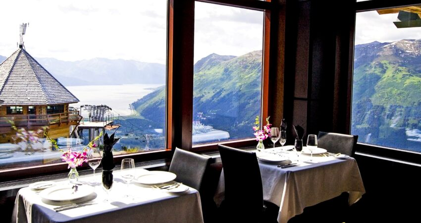 Every table with a fine view at the Seven Glaciers Restaurant in Girdwood.